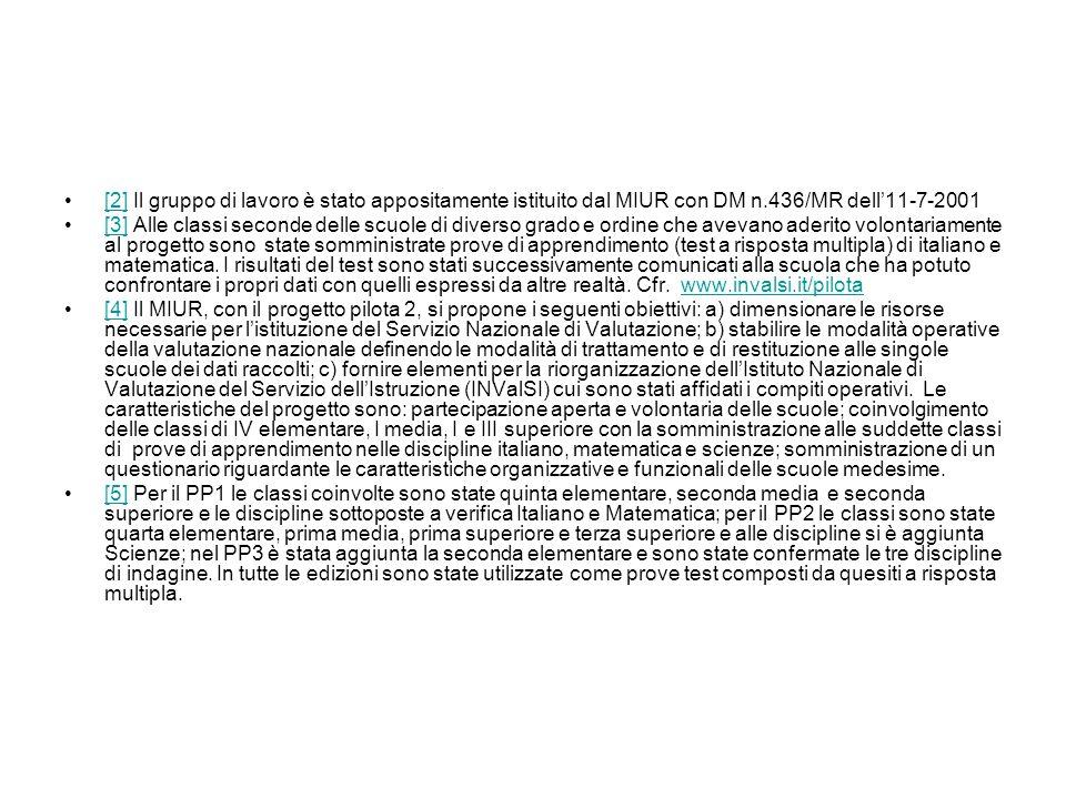 [2] Il gruppo di lavoro è stato appositamente istituito dal MIUR con DM n.436/MR dell'11-7-2001